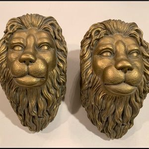 Gold LION HEAD Curtain Rod Swag Holders Wall Set